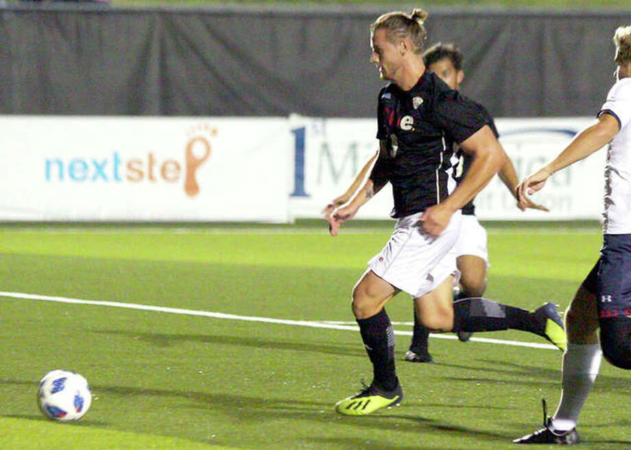 Lachlan McLean of SIUE scored a pair of goals in his team's 3-2 victory over Butler Tuesday night in Indianapolis. Photo: SIUE Athletics