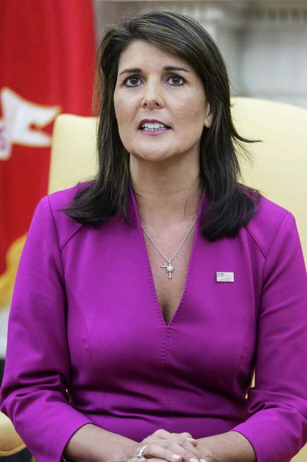 Nikki Haley, U.S. Ambassador to the United Nations, speaks during a meeting with U.S. President Donald Trump, not pictured, in the Oval Office at the White House in Washington, D.C., U.S., on Tuesday, Oct. 9, 2018. Haley will leave her job as U.S. ambassador to the United Nations at the end of the year, Trump said, an announcement that surprised the White House and led to fresh speculation about her political future. Photographer: Zach Gibson/Bloomberg Photo: Zach Gibson / © 2018 Bloomberg Finance LP