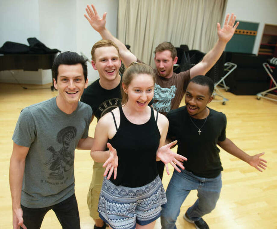Students in SIUE CAS' musical theater program include (front row, L-R): Trystan Davis, Zora Vredeveld and Miles Wadlington, and (back row, L-R) Jared Lauritson and Patterson Friese.