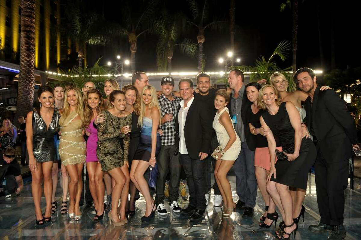 """HOLLYWOOD - JULY 13: (L-R) Cast and crew members; Stacie Hall, Kristin Cavallari, Audrina Patridge, Lauren Conrad, Executive Producer Sara Mast, Stephanie Pratt, show creator/executive producer Adam Divello, Brody Jenner, President of Programming for MTV Tony DiSanto, Frankie Delgado, Lauren Bosworth, Executive Producer Sean Travis, Sophia Rossi, Executive Producer Liz Gateley, Holly Montag and Justin Brescia attend MTV's """"The Hills Live: A Hollywood Ending"""" Finale event held at The Roosevelt Hotel on July 13, 2010 in Hollywood, California. (Photo by John Shearer/Getty Images for MTV.com) *** Local Caption *** Stacie Hall;Kristin Cavallari;Audrina Patridge;Lauren Conrad;Sara Mast;Adam Divello;Stephanie Pratt;Brody Jenner;Tony DiSanto;Frankie Delgado;Lauren Bosworth;Sean Travis;Sophia Rossi;Liz Gateley;Holly Montag;Justin Brescia"""