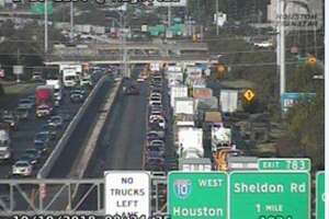 A Hazmat spill and crash closed at least three lanes of westbound Interstate 10 at Sheldon Road on Wednesday, Oct. 10, 2018.