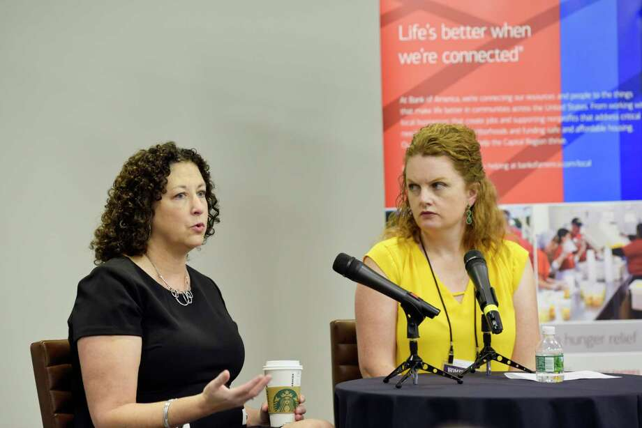 Amy Klein, Left, CEO of Capital Roots, is interviewed by Leigh Hornbeck of the Times Union during the Women@Work Changemakers breakfast at the Hearst Media Center on Wednesday, Oct. 10, 2018, in Colonie, N.Y.   (Paul Buckowski/Times Union) Photo: Paul Buckowski, Albany Times Union / (Paul Buckowski/Times Union)