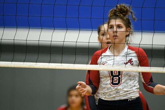 Atascocita senior setter Maddie Van Dyke gets ready to go to work against College Station during their pool play matchup in the 2018 BSN Clear Creek ISD Varsity Volleyball Tournament at Clear Springs High School on August 30, 2018.