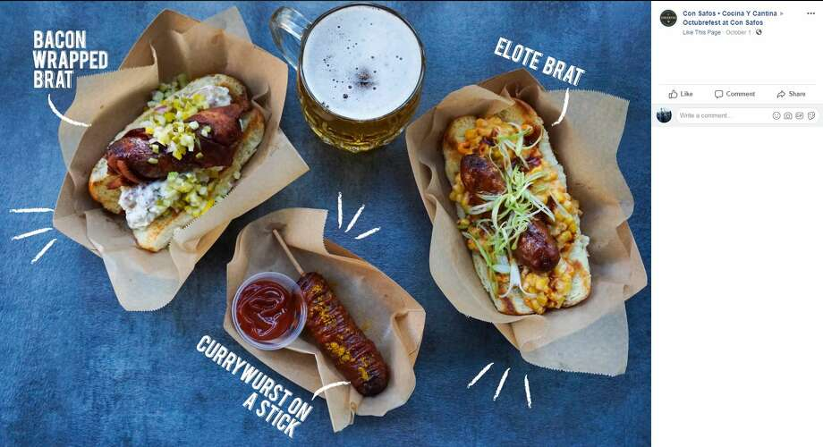 The menu at Octubrefest will feature a bacon-wrapped brat, an elote brat and a currywurst on a stick. Photo: Facebook Screengrab