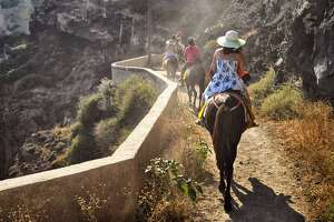 The famous donkey ride in Oia, Greece