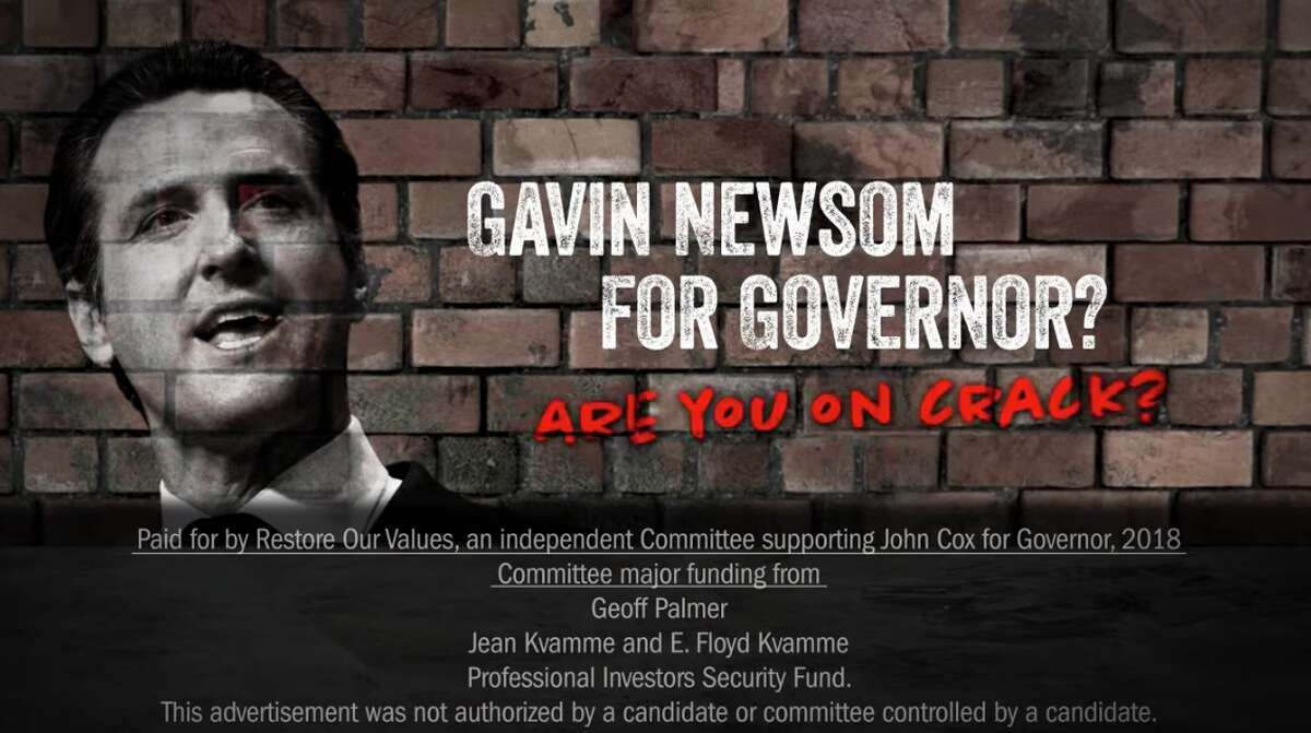 """An attack ad from """"Restore Our Values,"""" an independent campaign committee supporting Republican John Cox for California governor, asks if Cox's opponent Democratic Lt. Gov. Gavin Newsom is on crack."""