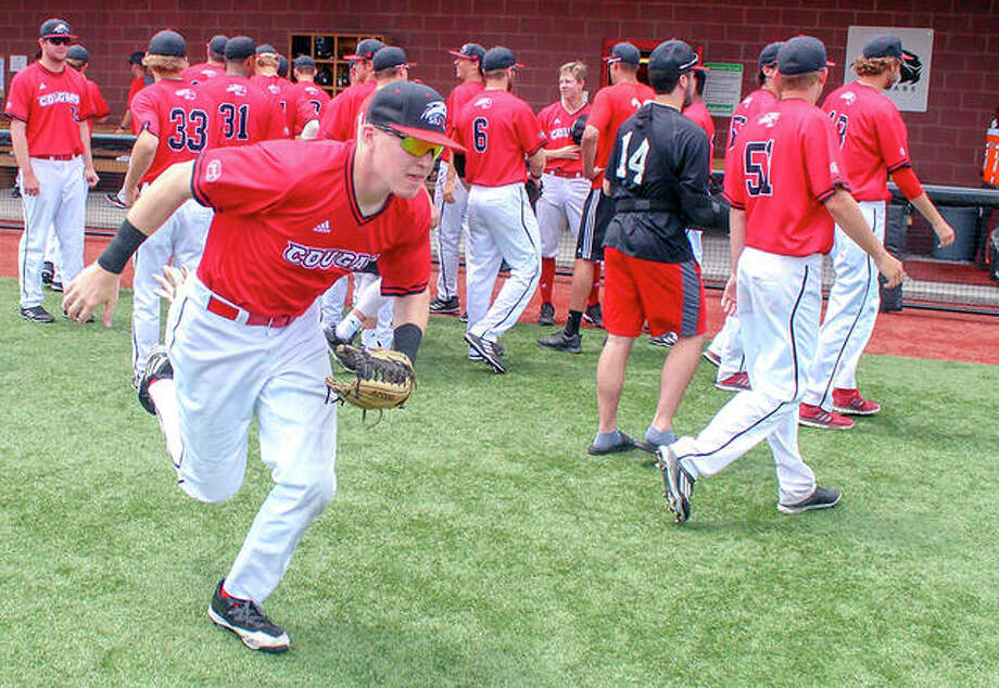 The 2019 SIUE baseball schedule will include two opponents from the Southeastern Conference and five Missouri Valley Conference teams. The Cougars will play 25 home games, the most since 2012. The SIUE team is shown above taking the field prior to a home game last season. Photo: SIUE Athletics