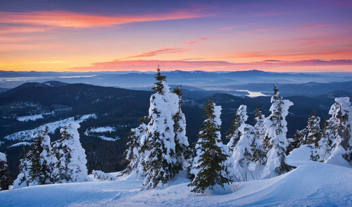 Sunrise from the top of Mt Spokane: Eastern Washington is going to get lots of snow in the next few days.