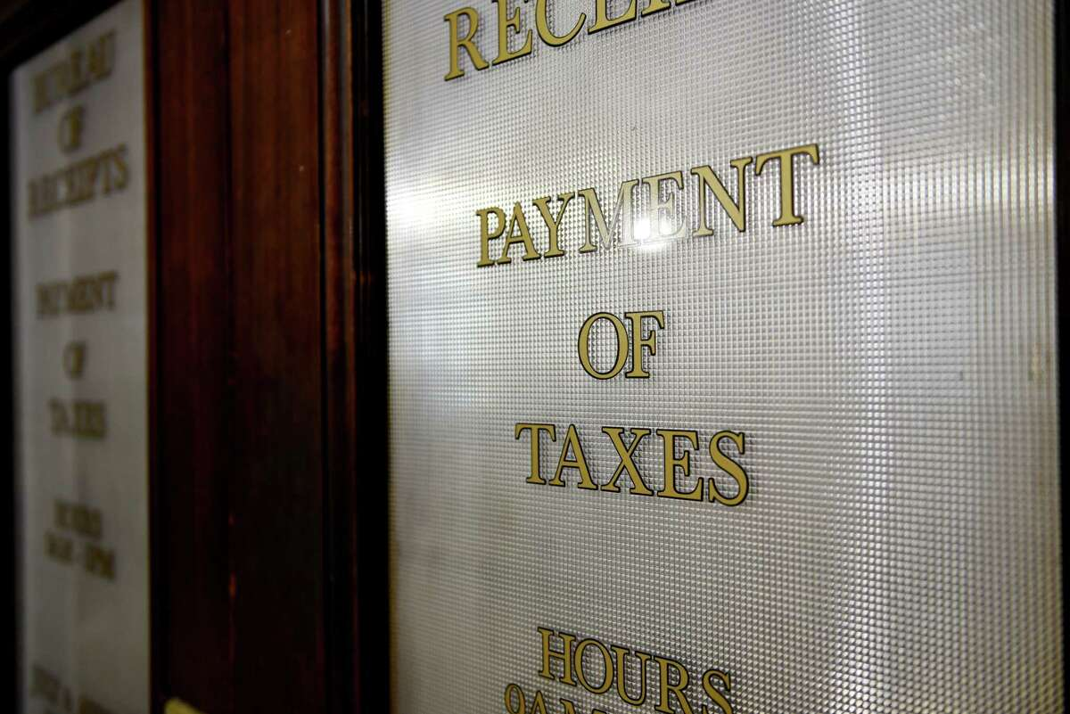 Door to the tax office at Schenectady City Hall on Wednesday, Oct. 3, 2018, in Schenectady, N.Y. All municipal offices will be closed for Labor Day 2021. (Will Waldron/Times Union)