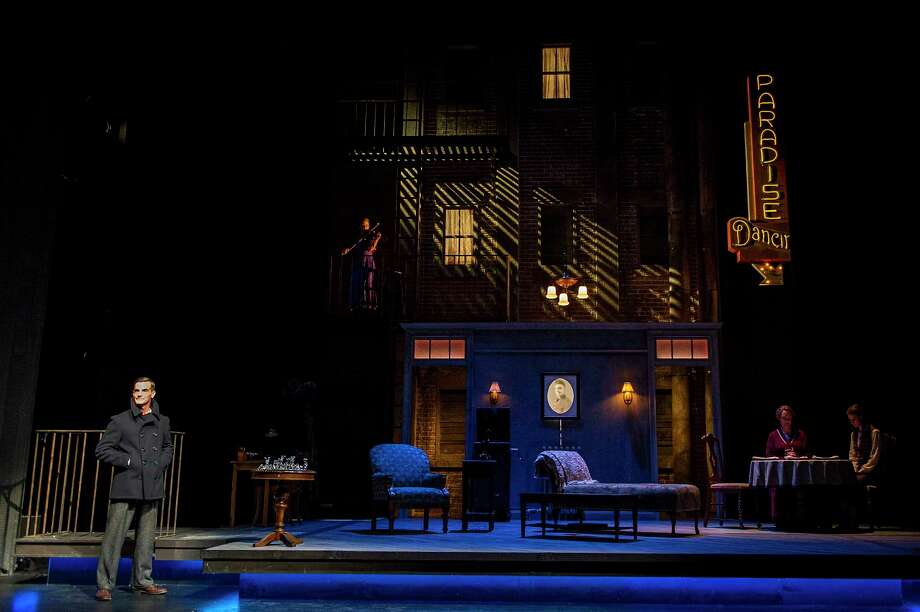 "Mark H. Dold, left, leads the cast in ""The Glass Menagerie"" at Barrington Stage Company. The set is by Brian Prather. Photo: Daniel Rader, Barringto Stage"
