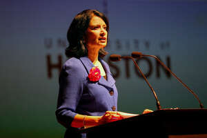 University of Houston President Renu Khator delivered her Fall Address in the Moores Opera House Wednesday, Oct. 10, 2018, in Houston.