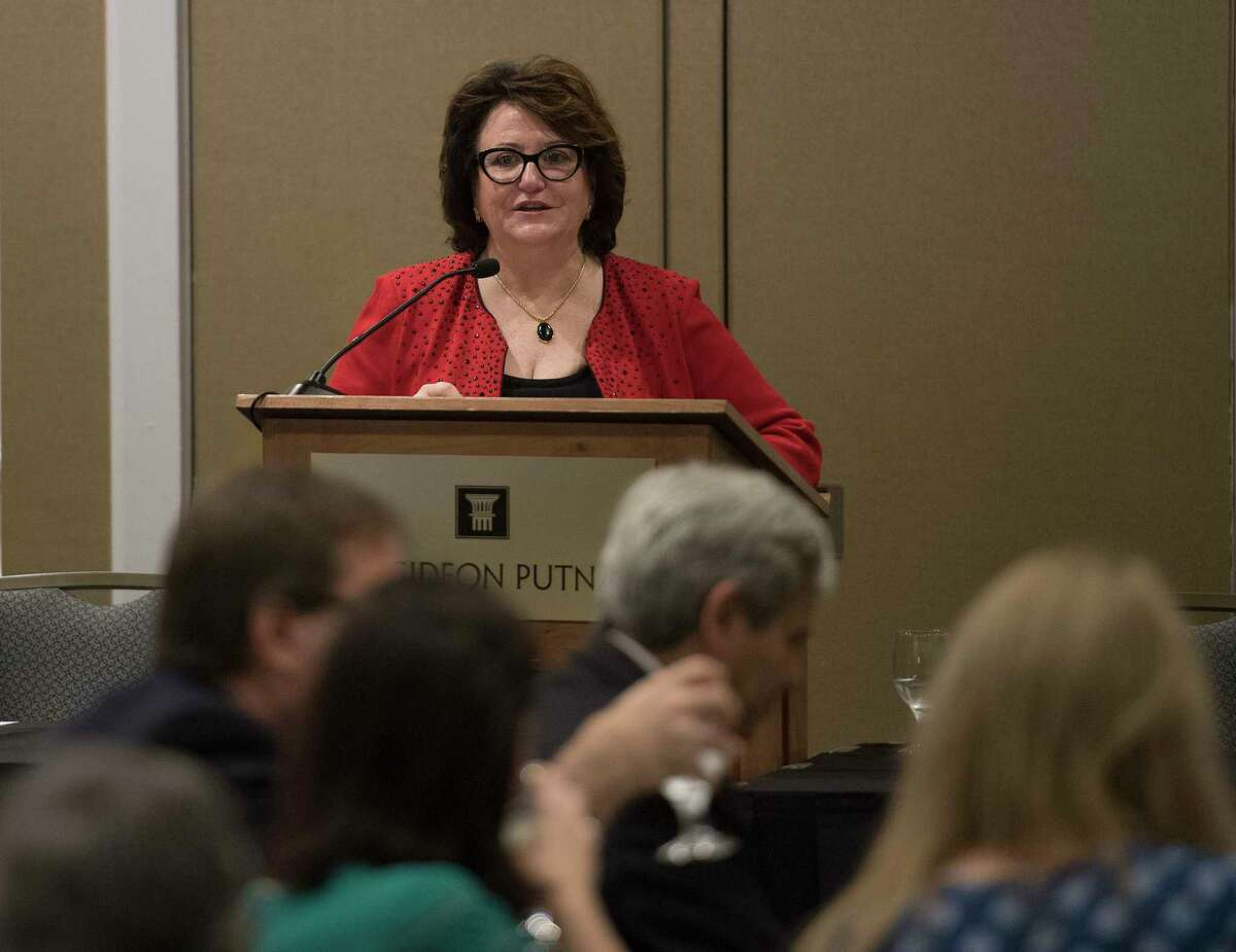 MaryEllen Elia, New York State Commissioner of Education and President of the University of the State of New York (USNY) speaks at the joint conference of the NYS Association of Teacher Educators and NY Association of Colleges for Teacher Educators at the Gideon Putnam Hotel Wednesday Oct.10, 2018 in Saratoga Springs, N.Y. (Skip Dickstein/Times Union)