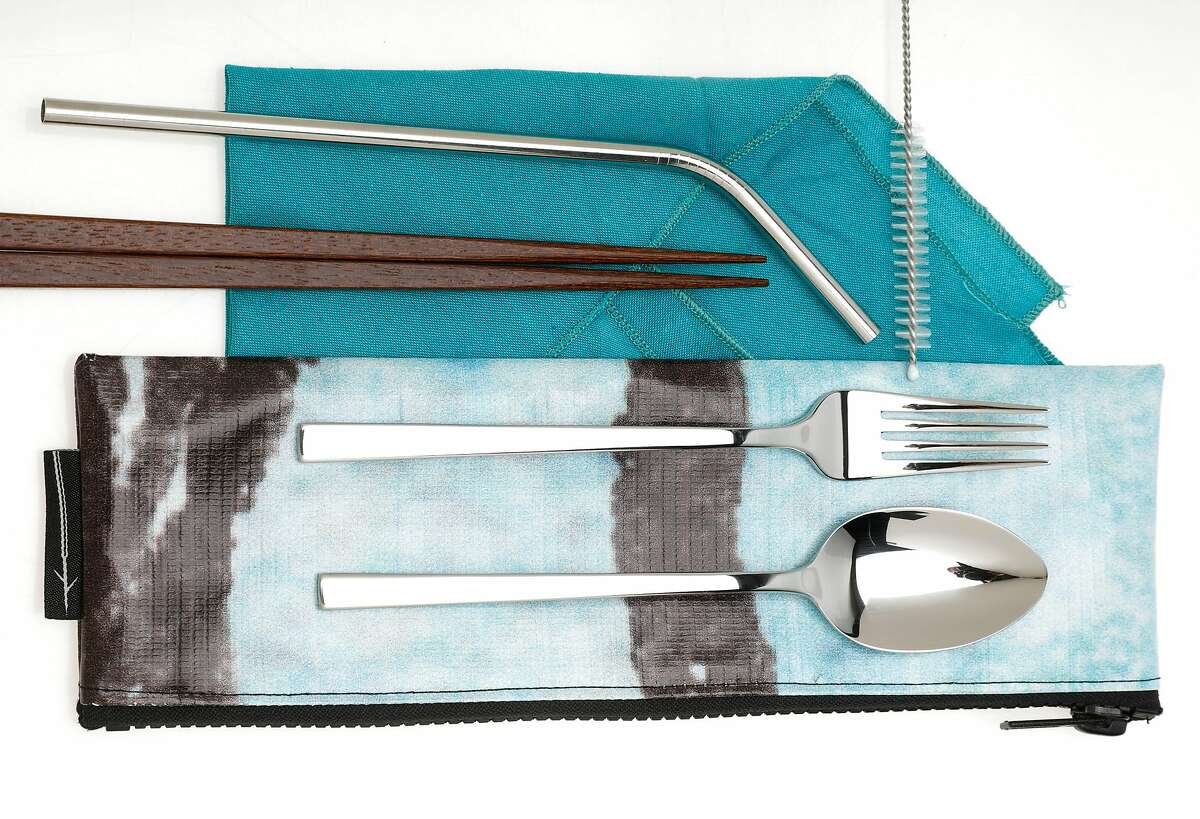 """The Keep Wild Co., """"The Brint It Utensil Kit,"""" which includes stainless steel fork, spoon, straw, straw cleaner, chopsticks and cloth napkin, is seen on Friday, Oct. 5, 2018 in San Francisco, Calif."""