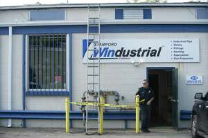 A roof repairman fell 30-feet through a skylight at Stamford Windustrial Co. on Sunnyside Ave. in west Stamford, Conn. on Wednesday, Oct. 10, 2018.