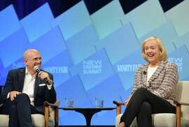 "NewTV's Jeffrey Katzenberg and Meg Whitman update an audience Wednesday at the Vanity Fair New Establishment Summit on the latest from their digital media startup, now called Quibi, for ""quick bites."""