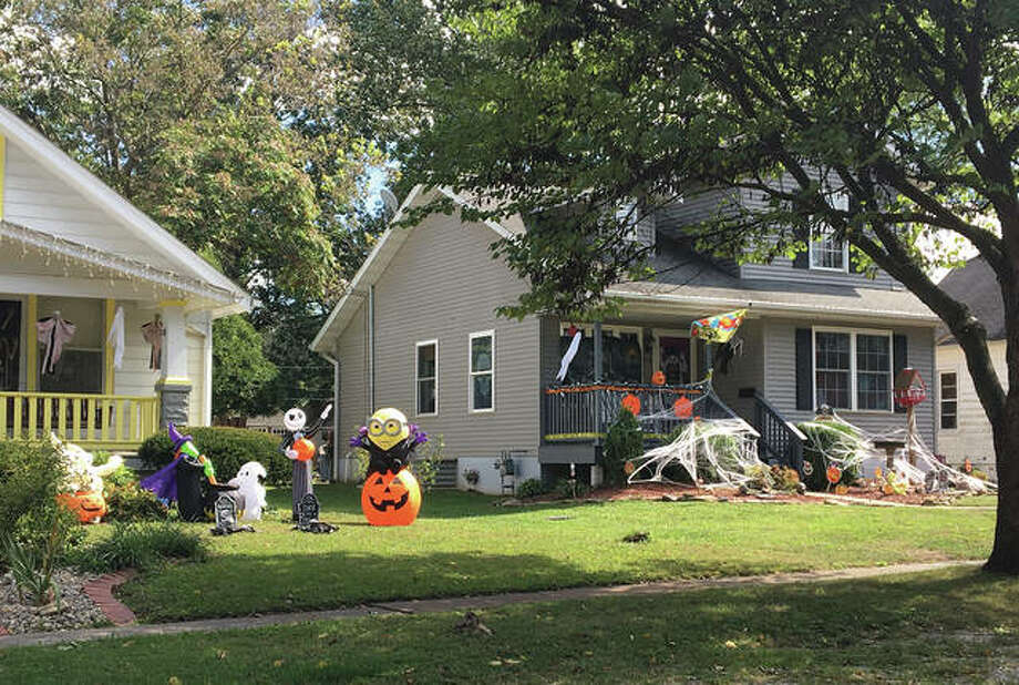 Yards on Holyoake Road in Edwardsville are decorated for Halloween. Photo: Bill Tucker/Intelligencer