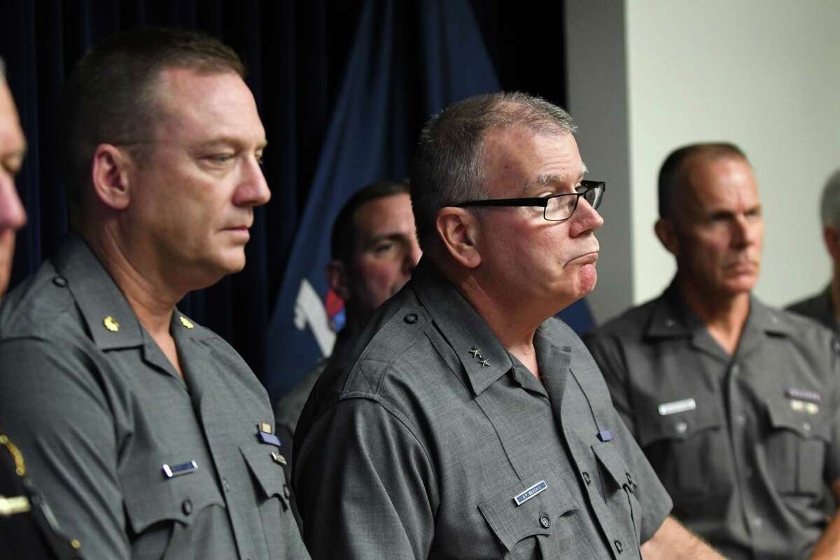 State Police Superintendent George Beach speaks during a press conference to talk about charges brought against Nauman Hussain in connection with Saturday?•s deadly limo crash on Wednesday, Oct. 10, 2018, during a press conference at Troop G headquarters in Latham, N.Y. (Will Waldron/Times Union)