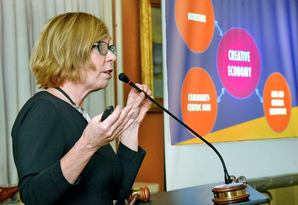 Maureen Sager, executive director of the Upstate Alliance for the Creative Economy, speaks during a roundtable discussion on the creative economy in upstate at the University Club Wednesday Oct. 10, 2018 in Albany, NY. (John Carl D'Annibale/Times Union)