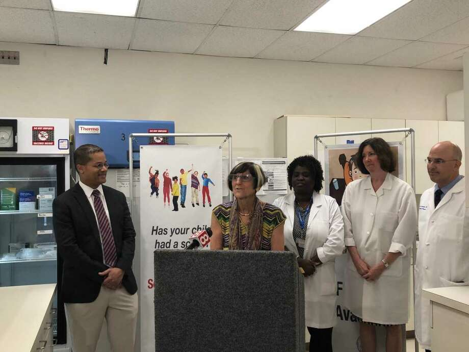 DeLauro attends a flu shot event at the New Haven Health Department to raise awareness of the need for a universal flu vaccine. Photo: Courtesy Of U.S. Rep. Rosa DeLauro's Office