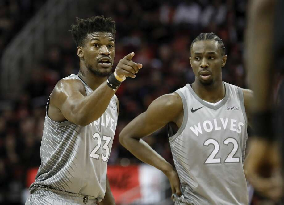 HOUSTON, TX - APRIL 15:  Jimmy Butler #23 of the Minnesota Timberwolves reacts in the second half during Game One of the first round of the 2018 NBA Playoffs against the Houston Rockets at Toyota Center on April 15, 2018 in Houston, Texas.  (Photo by Tim Warner/Getty Images) Photo: Tim Warner