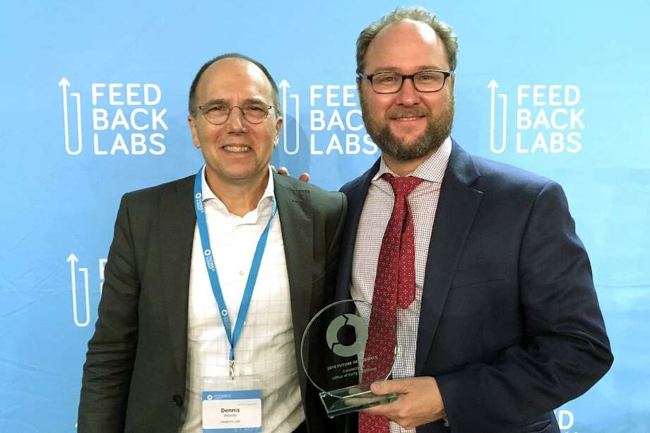 Dennis Whittle, left, co-founder of Feedback Labs and GlobalGiving, and David Wilkinson, commissioner of the Connecticut Office of Early Childhood. OEC received the Future of Feedback Award at the annual Feedback Summit in Washington. Photo: Contributed Photo / Connecticut Post Contributed
