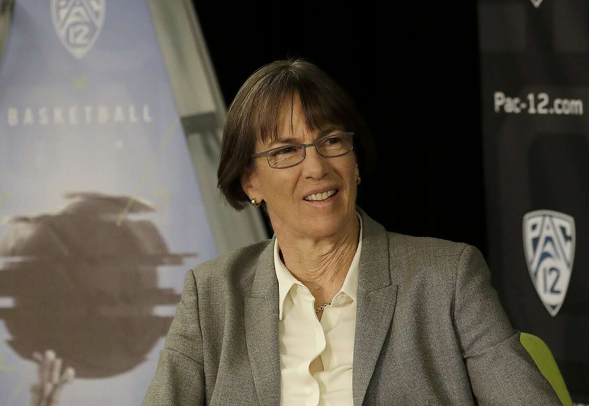Stanford head coach Tara VanDerveer listens as her players speak during NCAA college basketball Pac-12 media day in San Francisco, Wednesday, Oct. 10, 2018. (AP Photo/Jeff Chiu)