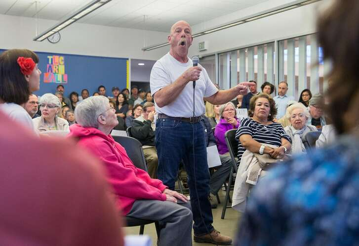 Portola resident Ron Parshall speaks directly to District 9 Supervisor Hillary Ronen during a community meeting surrounding RV and commercial vehicle parking issues in the Portola neighborhood of San Francisco, Calif. Tuesday, Oct. 9, 2018.