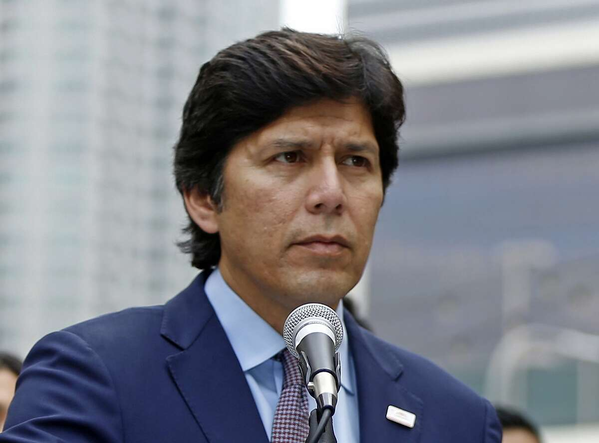 ADVANCE FOR RELEASE SATURDAY, OCT. 6, 2018, AND THEREAFTER - FILE - In this Dec. 20, 2017, file photo, California state Senate President pro Tempore Kevin de Leon, D-Los Angeles, speaks in Los Angeles. De Leon is challenging fellow Democrat, incumbent U.S. Sen. Dianne Feinstein, for her senate seat. (AP Photo/Damian Dovarganes, File)