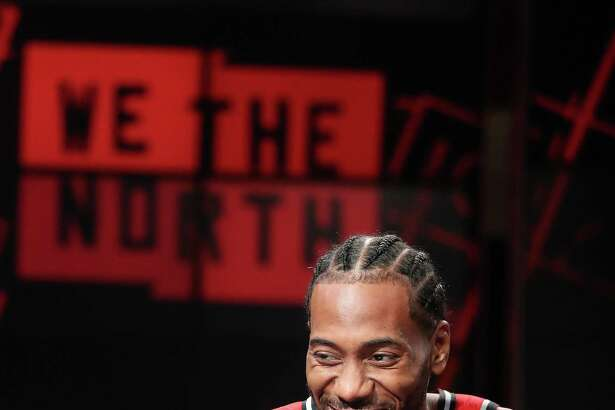 TORONTO, ON- SEPTEMBER 24 - Toronto Raptors forward Kawhi Leonard (2) as the Toronto Raptors host their media day before going to Vancouver for their training camp. Media Day was held at the Scotiabank Arena in Toronto. September 24, 2018. (Steve Russell/Toronto Star via Getty Images)