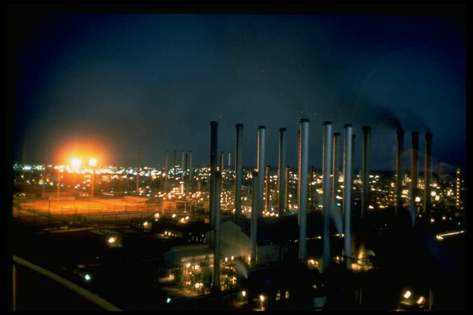 Evening view of oil refinery. U.S. Gulf Coast refineries saw gasoline crack spreads, a key marker for profitability, plummet in January as prices for heavy crude rose and gasoline inventories climbed. NEXT: See gasoline prices in Texas' biggest cities. Photo: John Bryson/The LIFE Images Collection/Getty