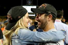 LOS ANGELES, CA - NOVEMBER 01: Justin Verlander #35 of the Houston Astros celebrates with fiancee Kate Upton after the Astros defeated the Los Angeles Dodgers 5-1 in game seven to win the 2017 World Series at Dodger Stadium on November 1, 2017 in Los Angeles, California. (Photo by Ezra Shaw/Getty Images)