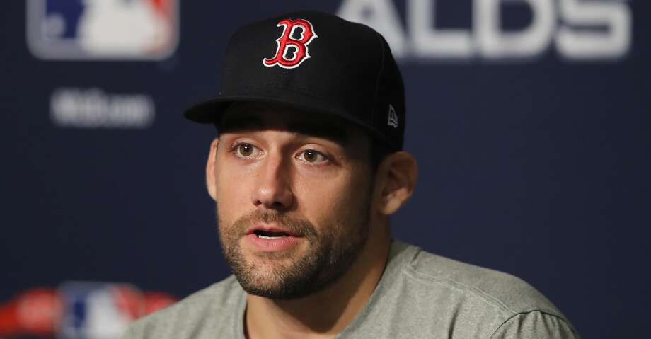 Boston Red Sox starting pitcher Nathan Eovaldi answers questions during a news conference, Sunday, Oct. 7, 2018, in New York. Eovaldi is scheduled to start Game 3 against the New York Yankees. (AP Photo/Julie Jacobson) Photo: Julie Jacobson/Associated Press