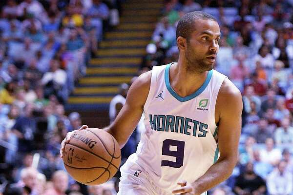 CHAPEL HILL, NC - SEPTEMBER 28: Tony Parker #9 of the Charlotte Hornets moves the ball against the Boston Celtics in the first quarter of a preseason game at Dean Smith Center on September 28, 2018 in Chapel Hill, North Carolina. NOTE TO USER: User expressly acknowledges and agrees that, by downloading and or using this photograph, User is consenting to the terms and conditions of the Getty Images License Agreement. The Hornets won 104-97. (Photo by Lance King/Getty Images)