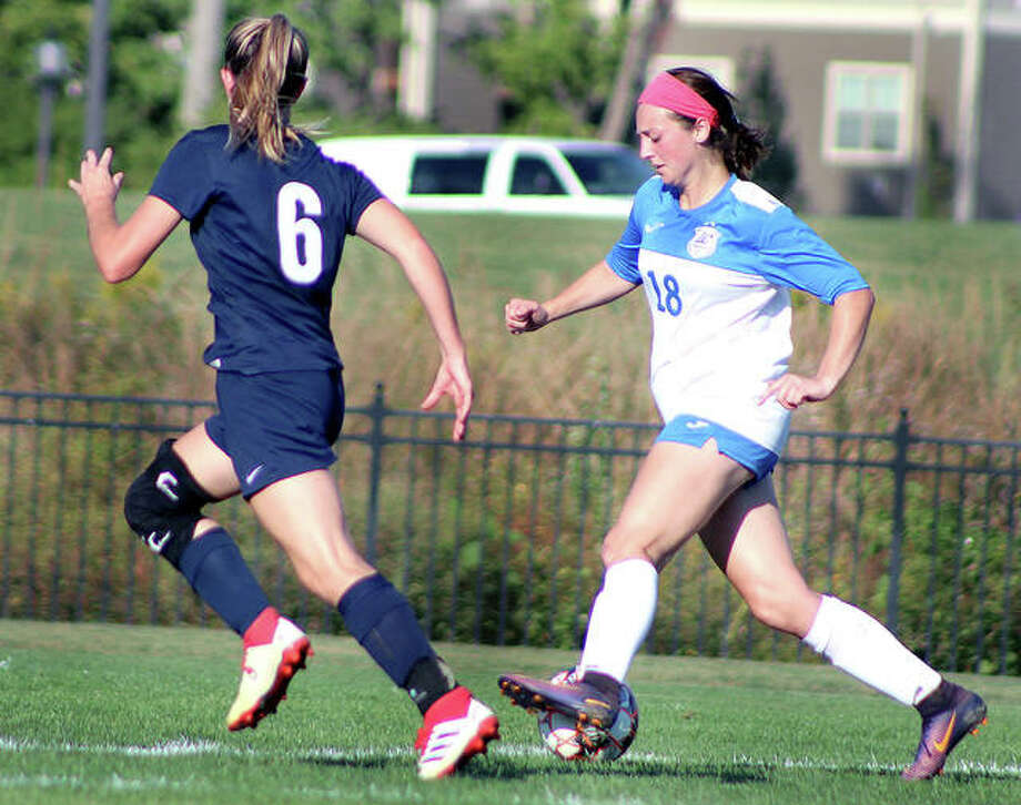 LCCC's Cassie Hall, right, controls the ball in a recent game against Kaskaskia at Tim Rooney Stadium. Hall, a freshman from Civic Memorial, has four goals two assists. Photo: Pete Hayes | The Telegraph