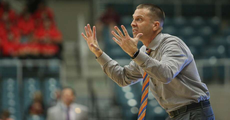 Sam Houston head coach Jason Hooten reacts during a Sam Houston State University Bearkats win over the Central Arkansas University Bears in the first round of the 2017 Southland Conference Men's Basketball Tournament at the Merrell Center, Wednesday, March 8, 2017, in Katy. ( Mark Mulligan / Houston Chronicle ) Photo: Mark Mulligan/Houston Chronicle