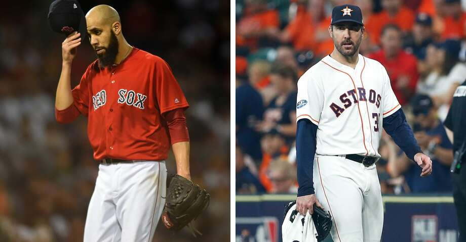 Red Sox starter David Price and Astros starter Justin Verlander. Photo: Getty