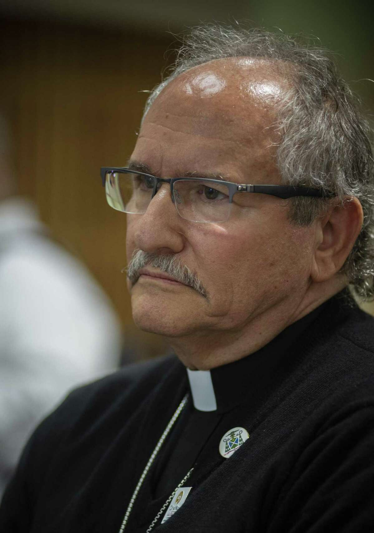 Auxiliary Bishop Michael J. Boulette attends a press conference were a new initiative to release all the names of priests