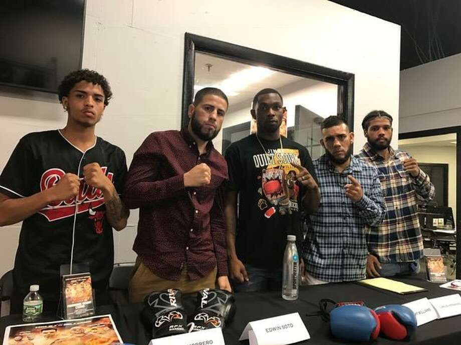 Local boxers who will be on a card at Foxwoods Casino on Oct. 20 include (left to right) Bridgeport's Jacob Marrero, New Haven's Edwin Soto, New Haven's Jimmy Williams, Bridgeport's Carlos Hernandez and New Haven's Elvin Figueroa. Photo: David Borges / Hearst Media Connecticut