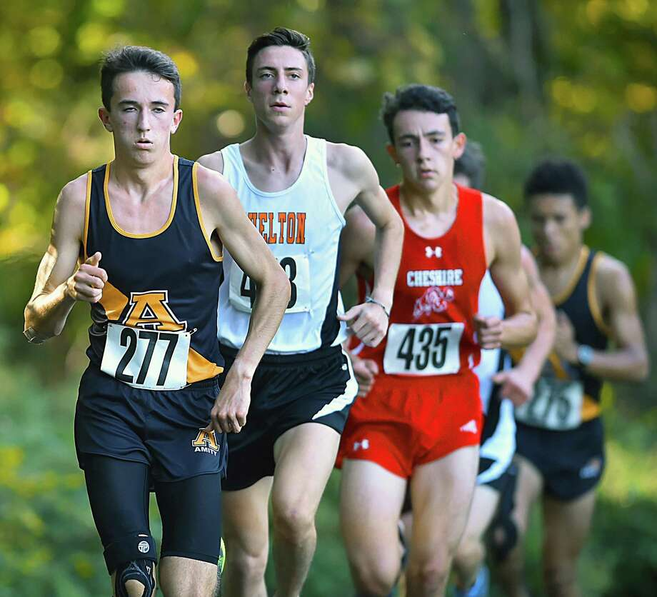 Shelton's Robert Dillon (478) won the Amity-Cheshire-Shelton Duals in an official time of 16:34 Wednesday at Fitzgerald Trail in Woodbridge. Amity's Connor Visnic (277) finished second in 16:42 and Cheshire's Brendan Mellitt (435) finished third in 16:52. Photo: Catherine Avalone / Hearst Connecticut Media / New Haven Register