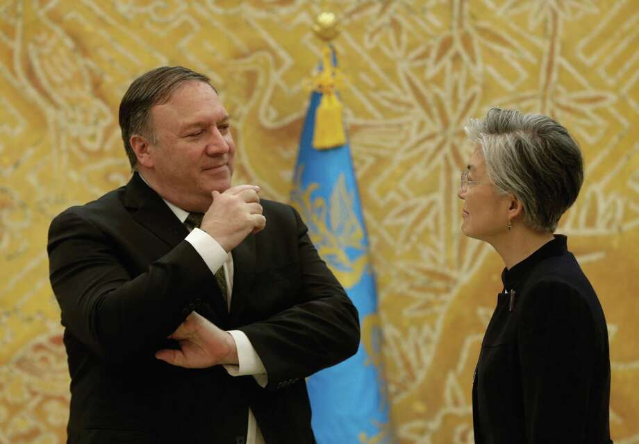 SEOUL, SOUTH KOREA - OCTOBER 07: U.S. Secretary of State Mike Pompeo talks with South Korean Foreign Minister Kang Kyung-wha before their meeting at presidential blue house on October 7, 2018 in Seoul, South Korea. Mike Pompeo visited South Korea after meeting of North Korea leader Kim Jong-un and he will meet South Korean President Moon Jae-in. (Photo by Ahn Young-Joon-Pool/Getty Images) Photo: Pool / 2018 Getty Pool