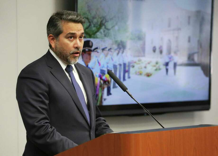 District 1 Councilman Robert Treviño speaks as City Council gets a presentation on the controversial Alamo plan on October 9. He has earned a second term. Photo: Tom Reel /Staff Photographer / 2017 SAN ANTONIO EXPRESS-NEWS