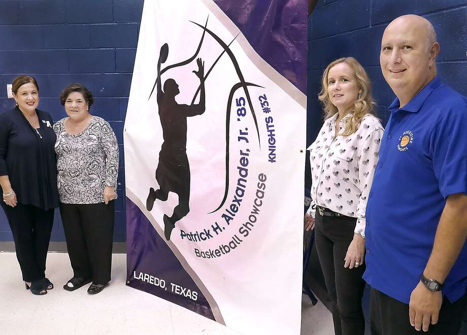 St. Augustine High School Principal, Olga Gentry, left and Head Boys Basketball Coach Rodrigo Romo pose with family members of former basketball player Patrick H. Alexander, his mother Diana R. Alexander and his widow Cristy B. Alexander as they announced the fifth annual Patrick H. Alexander, Jr., Basketball Showcase, Wednesday, October 10, 2018 at the St. Augustine Wellness Center. The tournament is scheduled for Friday, November 2, and for Saturday, November 3, 2018. Photo: Cuate Santos / Laredo Morning Times / Laredo Morning Times