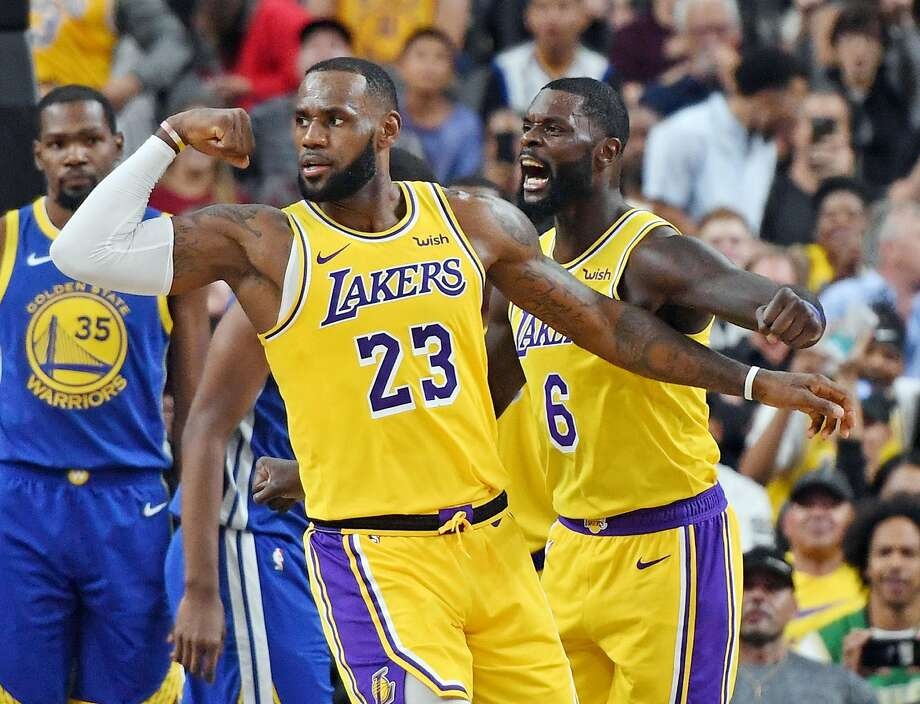 LAS VEGAS, NEVADA - OCTOBER 10:  LeBron James #23 and Lance Stephenson #6 of the Los Angeles Lakers celebrate after James made a shot against the Golden State Warriors and was fouled during their preseason game at T-Mobile Arena on October 10, 2018 in Las Vegas, Nevada. NOTE TO USER: User expressly acknowledges and agrees that, by downloading and or using this photograph, User is consenting to the terms and conditions of the Getty Images License Agreement.  (Photo by Ethan Miller/Getty Images) Photo: Ethan Miller / Getty Images