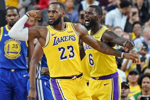 newest 86ebc 69220 In first game against LeBron James' Lakers, Warriors look ...