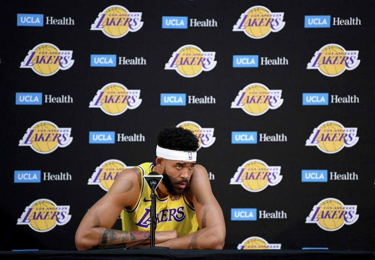Javale McGee of the Los Angeles Lakers listens to questions during the Los Angeles Lakers Media Day at the UCLA Health Training Center on September 24, 2018 in El Segundo, California. He had a career-high average points per game with the Lakers this season with 12 per game.