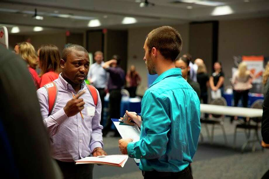 Sstudents and members of the public participate in SVSU's Accounting & Finance Employment Fair in September 2018. (Photo provided/SVSU)