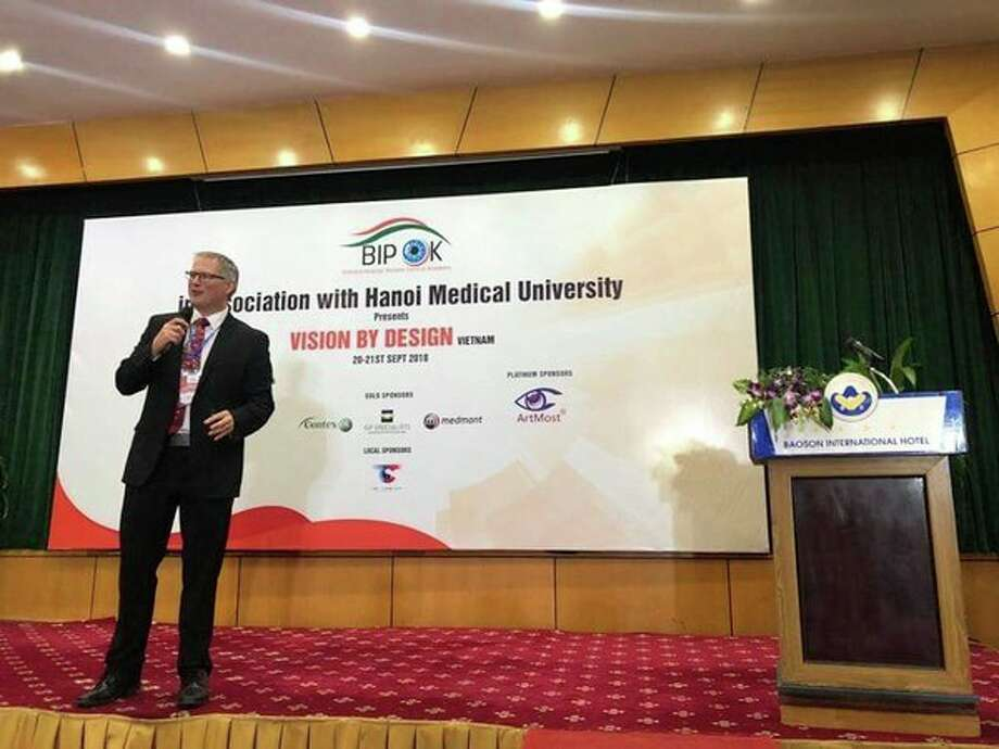 Dr. Matthew J. Martin lecturing to the Hanoi Medical University in Hanoi, Vietnam. (Photo provided)