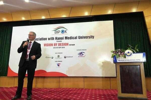 Dr.Matthew J.Martin lecturing to the Hanoi Medical University in Hanoi, Vietnam. (Photo provided)