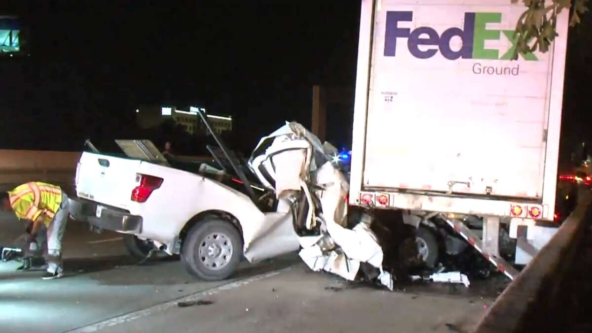 A man is in serious condition after crashing into an 18-wheeler on the Katy Freeway near Greenhouse on Thursday, Oct. 11, 2018.