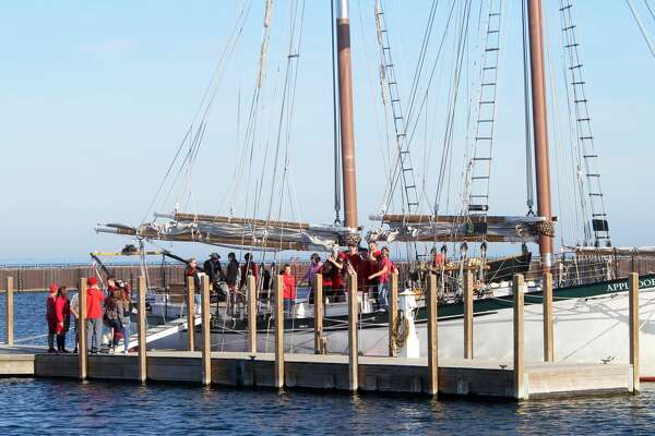 """The schooner Appledore IV docked in Port Austin Harbor on Tuesday and will be departing Thursday. During its time in the harbor, the ship's """"Science Under Sail"""" program is available for area classrooms. Wednesday morning, North Huron students were aboard the 85 foot passenger vessel."""